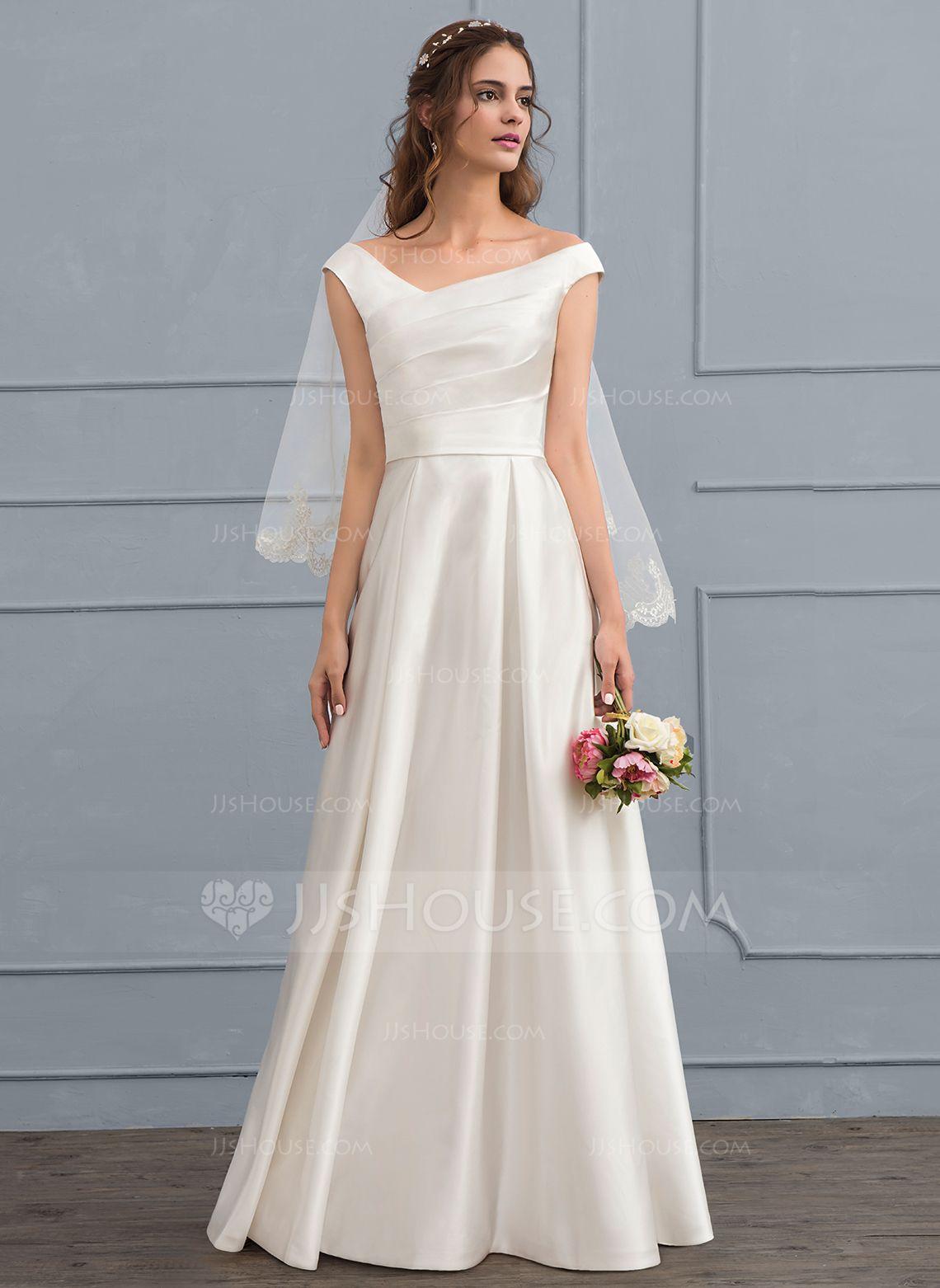 A-Line/Princess Off-the-Shoulder Floor-Length Satin Wedding Dress ...