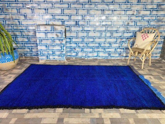 Vintage Blue Rug Home living Home decor Antique rug Boujad Area carpet 5 5X8 7 FT