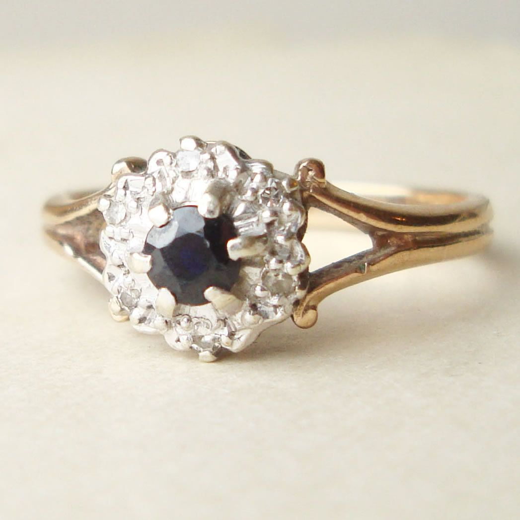 Vintage Sapphire Engagement Ring Diamond Ring 9k Gold Ring Size Approx US