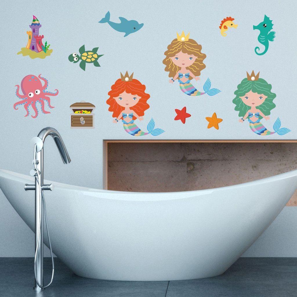 Beautiful Mermaid Wall Stickers | Wall sticker, Mermaid and ...