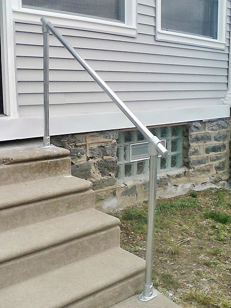 15 Customer Railing Examples For Concrete Steps Outdoor Stair   Exterior Handrails For Concrete Steps   Stair   Backyard   Cool   Side Entrance   Old House Porch