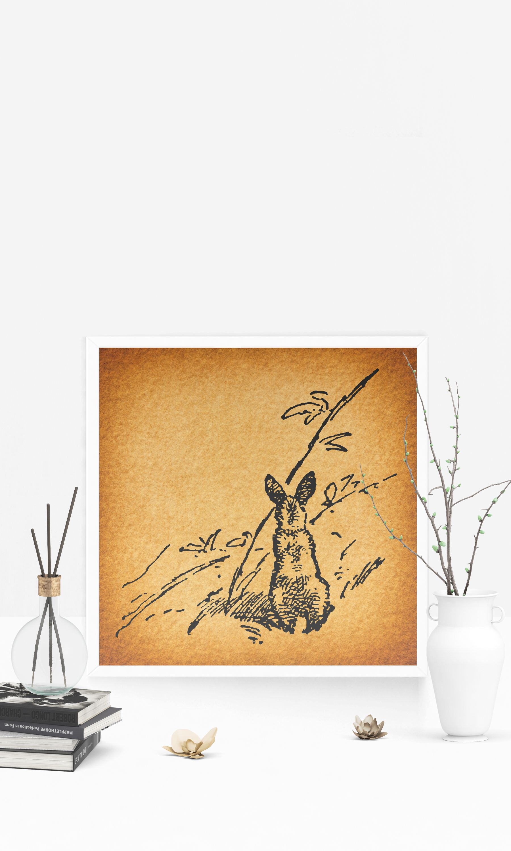 Vintage Rabbit Wall Art Print for Home Decoration Antique ...