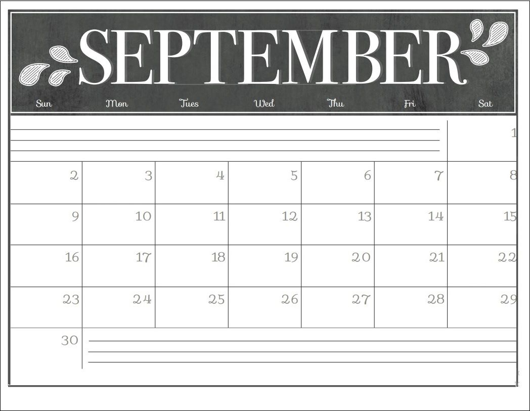 calendar template september 2018