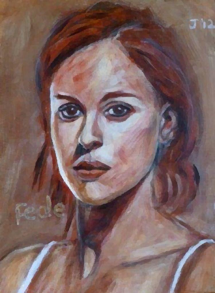 Federica Pellegrini, 200 m free style, acrylic on paper