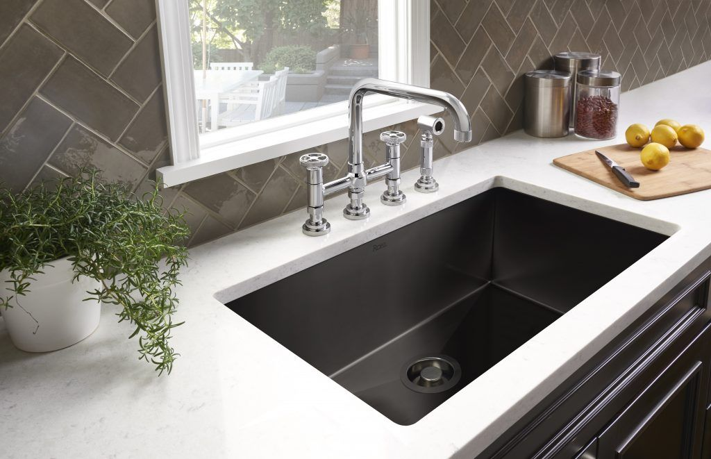 black stainless steel sink