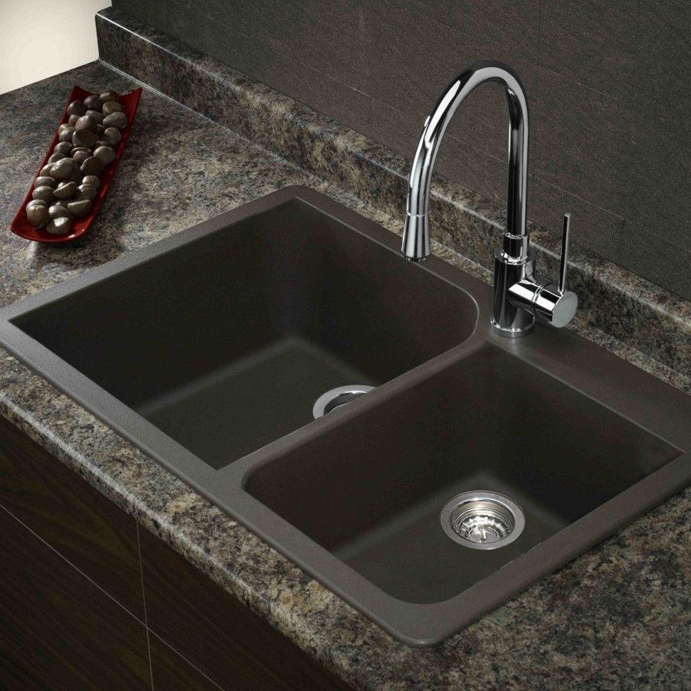 Radius 33 L X 22 W Granite Double Offset Drop In Kitchen Sink