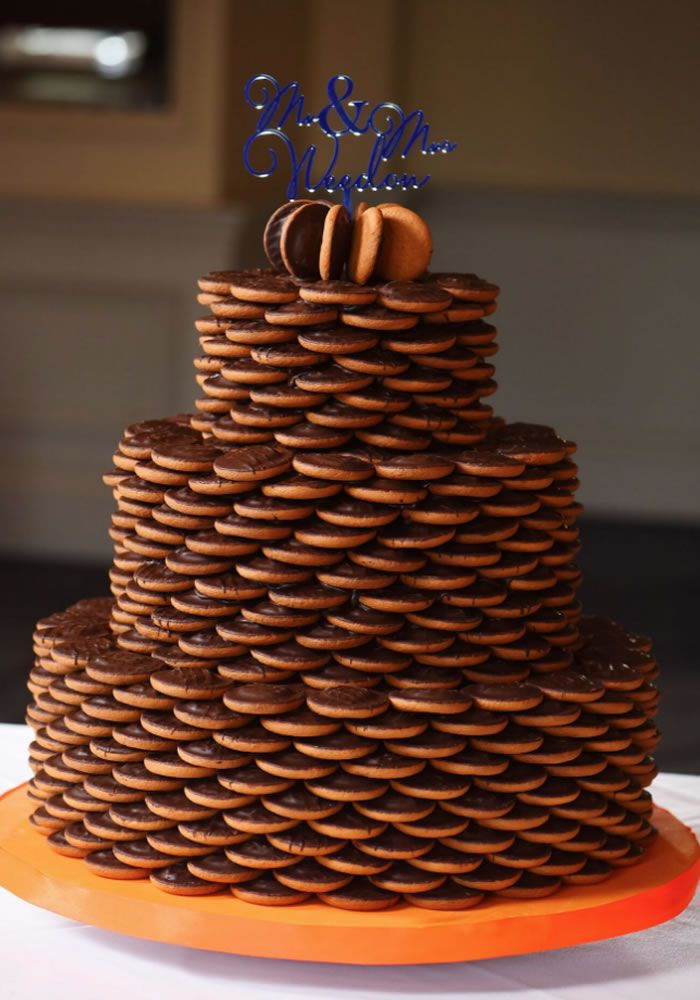 The Three Tiered Jaffa Cake Wedding Cake Cakes