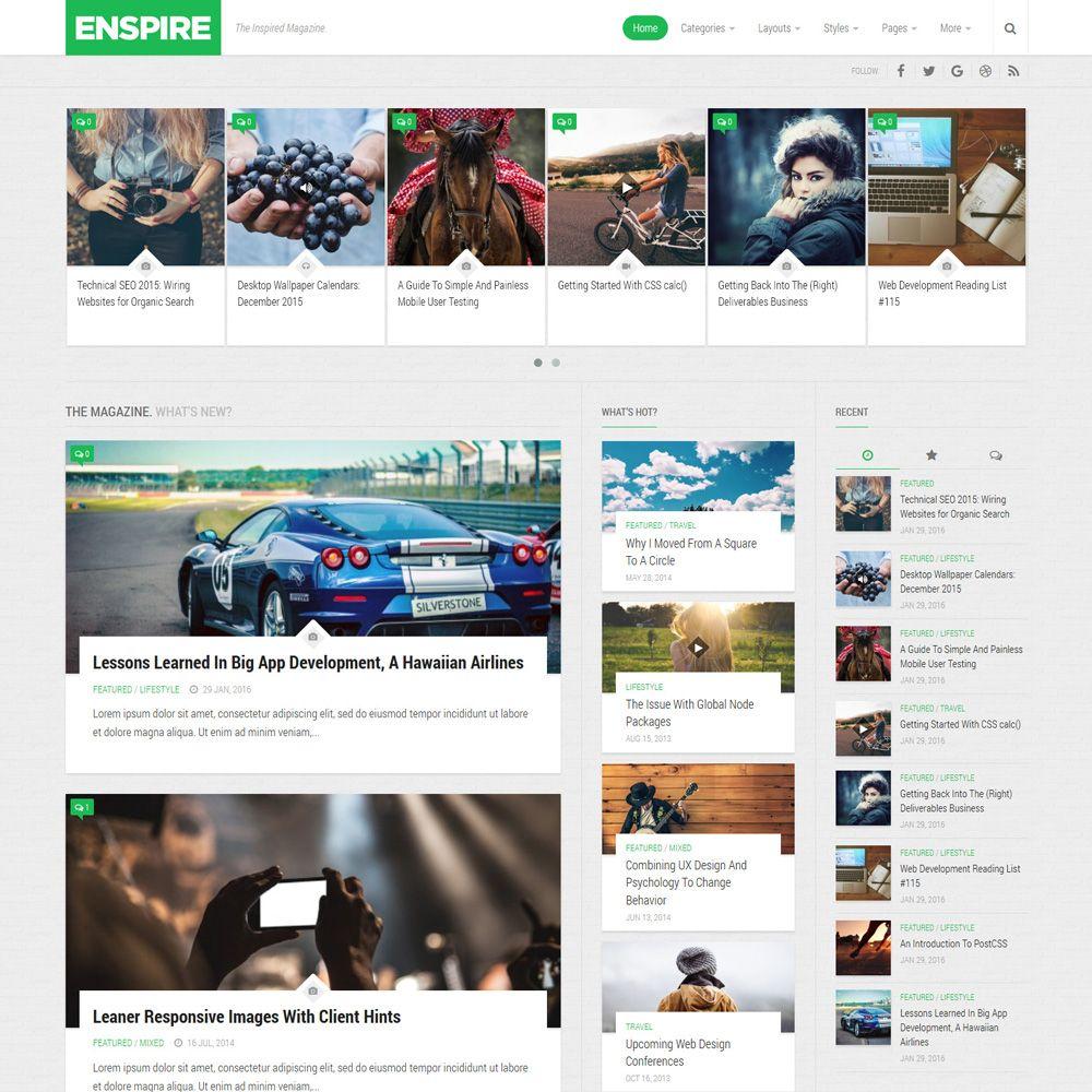 Enspire - Free Magazine WordPress Theme - Freebies | Free magazines ...