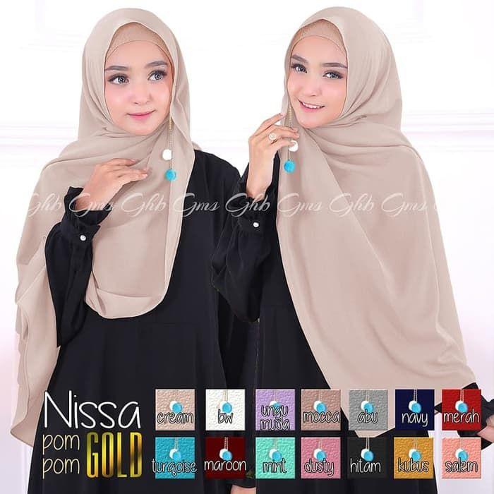 Jual Hijab Nissa Sabyan Pompom Gold Kerudung Anissa Sabyan Terbaru