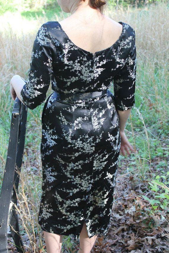 Vintage 1950's Alfred Shaheen Original Black Satin Wiggle Evening Dress Gorgeous. $150.00, via Etsy.