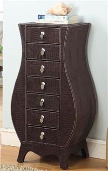 Jewelry Armoire With Seven Drawers Faux Croc Leather Jewelry
