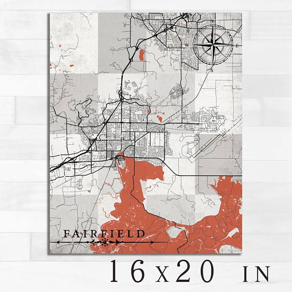 Fairfield Ca Canvas Print California Ca Vintage Map Town City