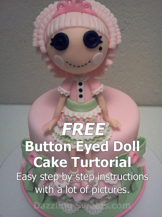 """This is not a lalaloopsy doll or cake. It is a edible cloth doll made with fondant. I call her a button eyed doll. She has lots of little buttons, ribbon, lace and yarn features made with fondant so she is edible. She sits on a 6"""" cake with fondant decor also. Hope you give her a try."""