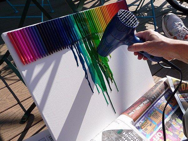 Wanddeko basteln leinwand pastellkreiden haartrockner for Wanddeko selbst gestalten