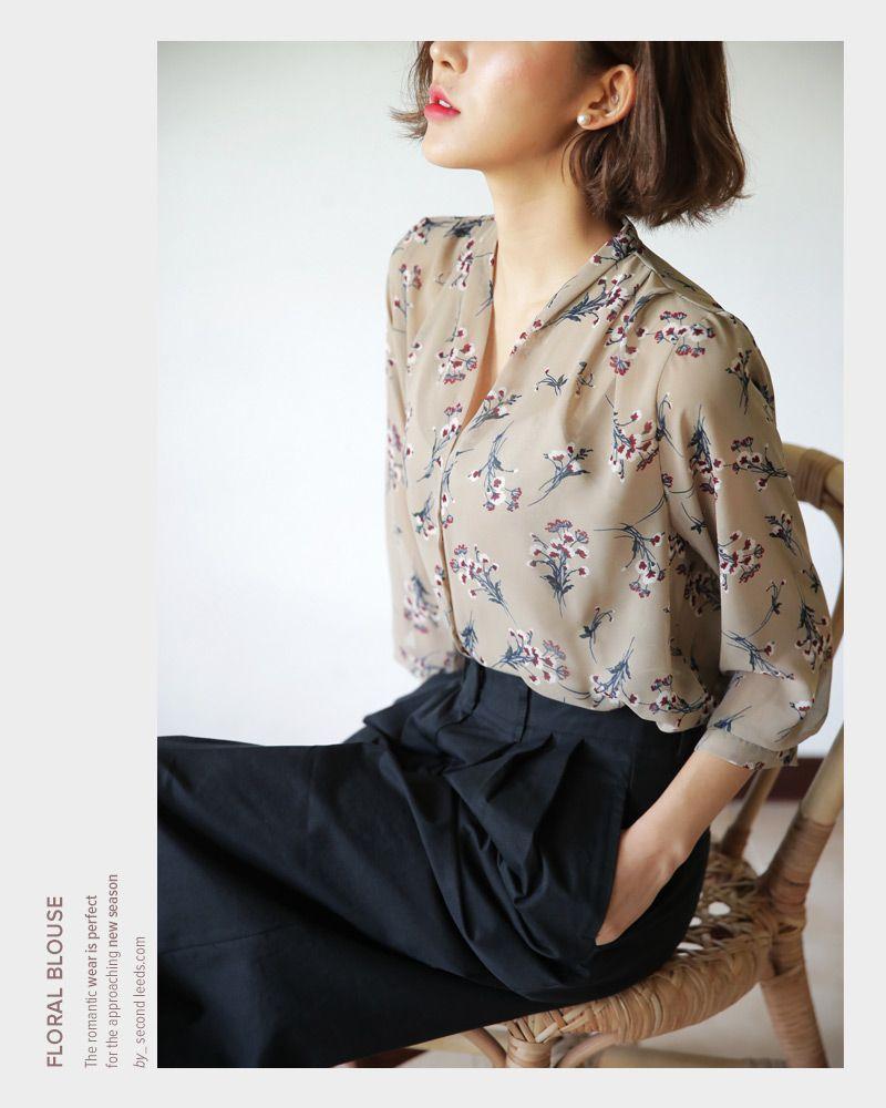 Vネックフローラルパターンブラウス・全3色シャツ・ブラウスシャツ・ブラウス レディースファッション ...