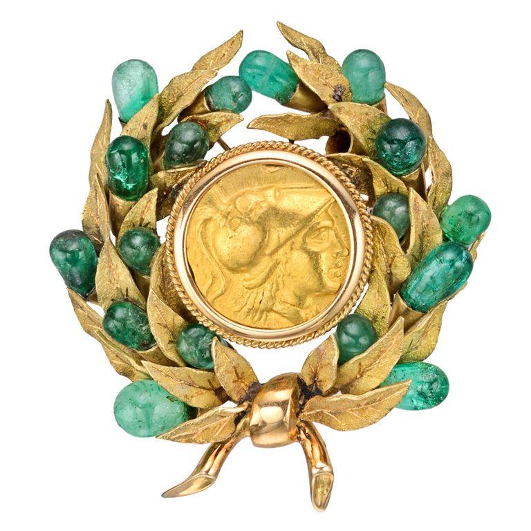 1stdibs | Jacqueline Kennedy Onassis Roman Coin Spray Brooch