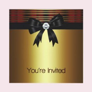 All Occasion Red Black Gold Invitation Template