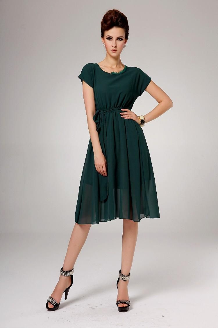 fashion choice of casual dresses with sleeves knee length