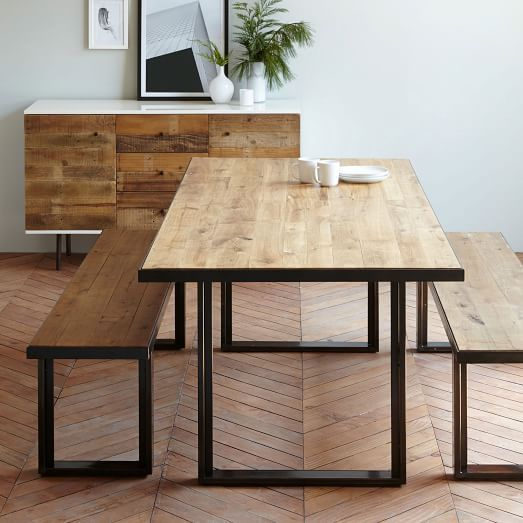 industrial oak + steel dining table + herringbone hardwood floors