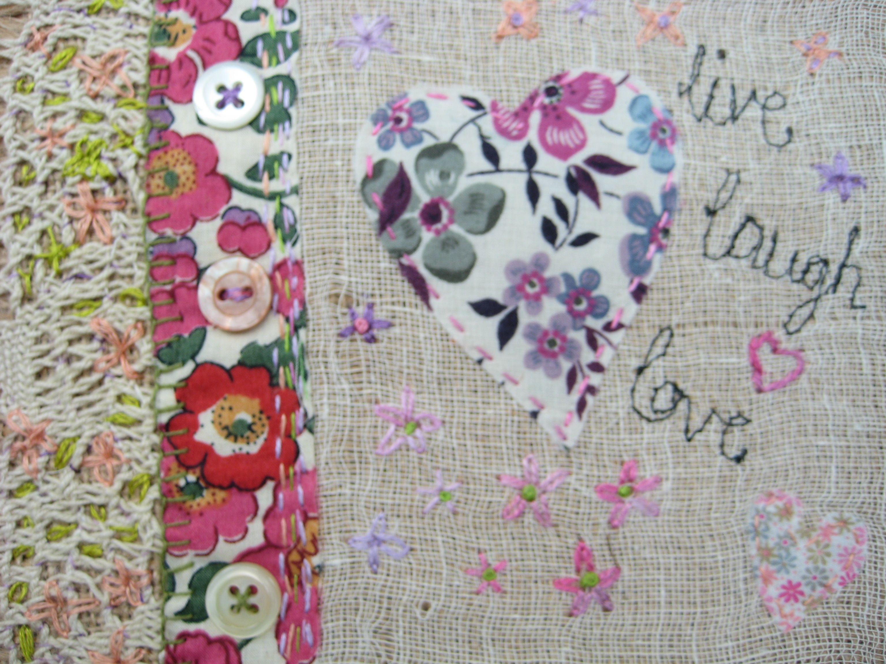 #Libery fabric hand stitched picture