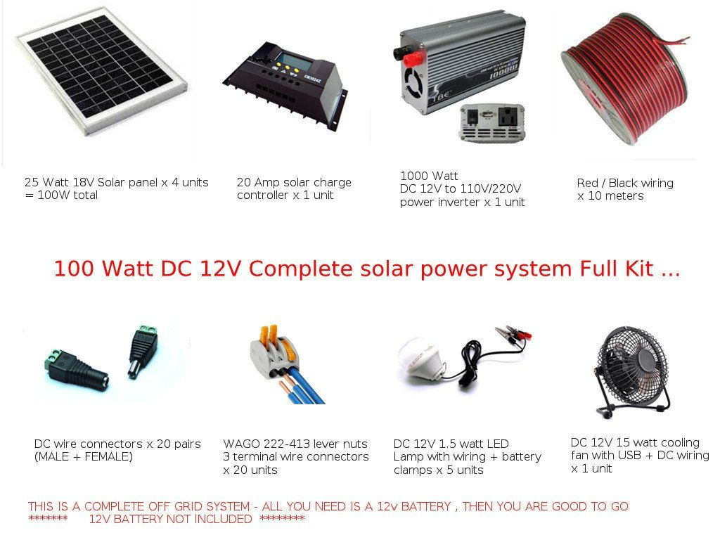 Full Kit 100w Off Grid Solar Power System Dc 12v Pv Cabin Power Generator Solar Power System Off Grid Solar Power Solar Panel System