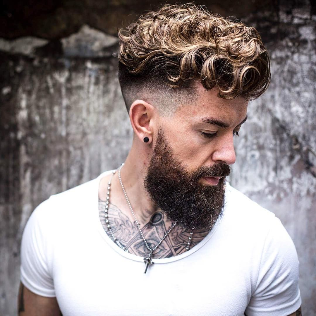medium curly haircuts for curly hair undercut beard 4523