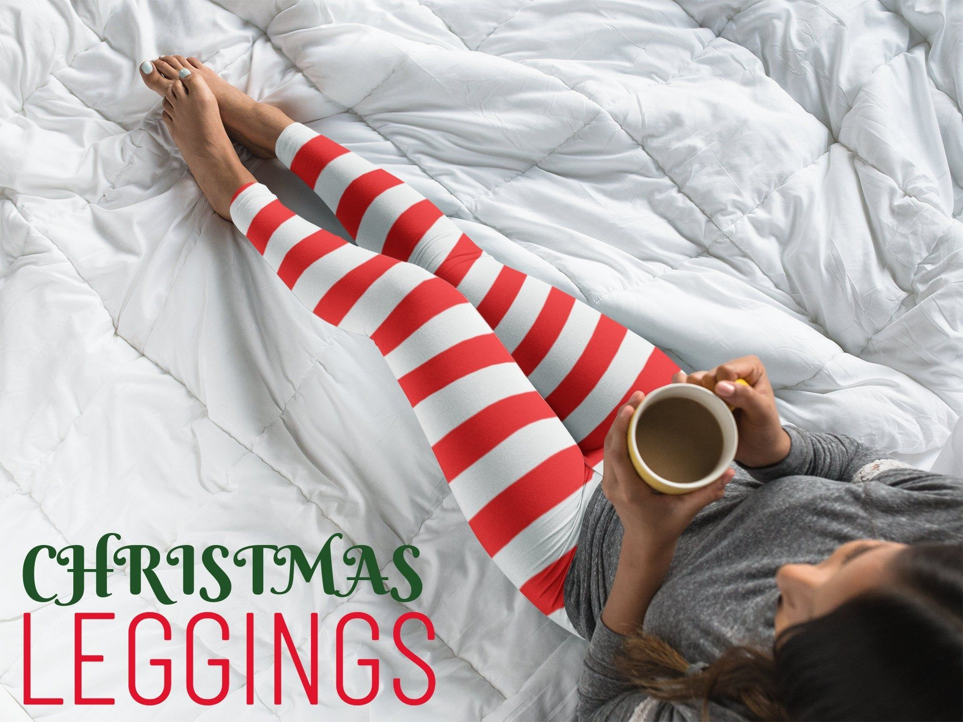 CANDY CANE Striped LEGGINGS Christmas Leggings Striped Leggings for Women Striped Womens Yoga Leggings Red and White Candy Cane Yoga Pants #stripedleggings