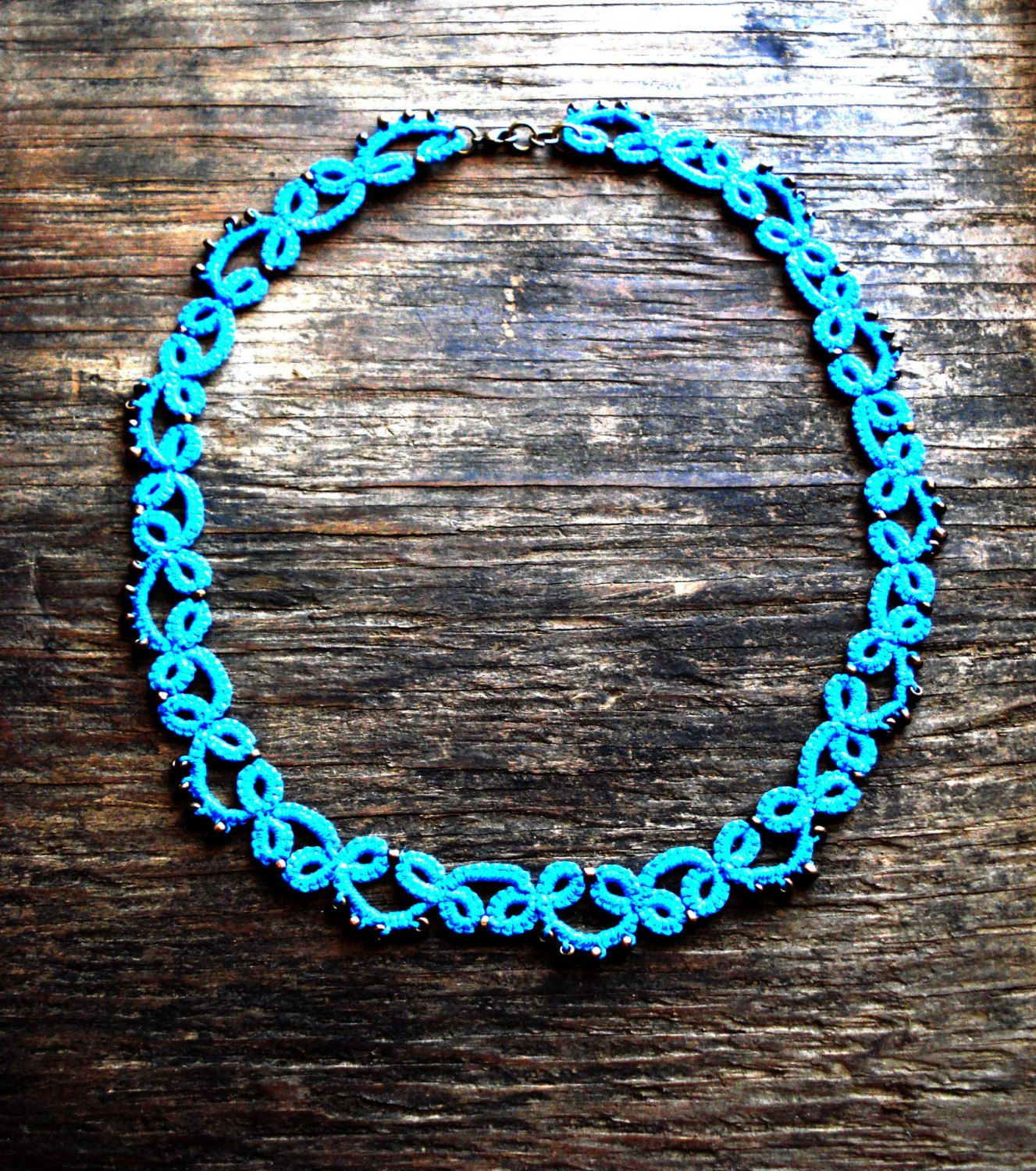 Scuba blue Tatted necklace with bronze seed by MypreciousCG