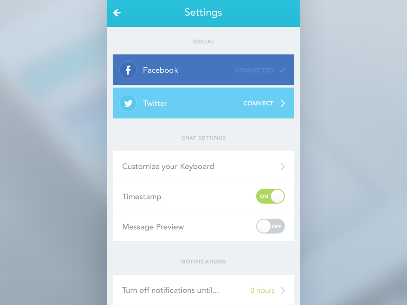 iOS App Settings screen | GUI (Great UI) Collection | App ui design