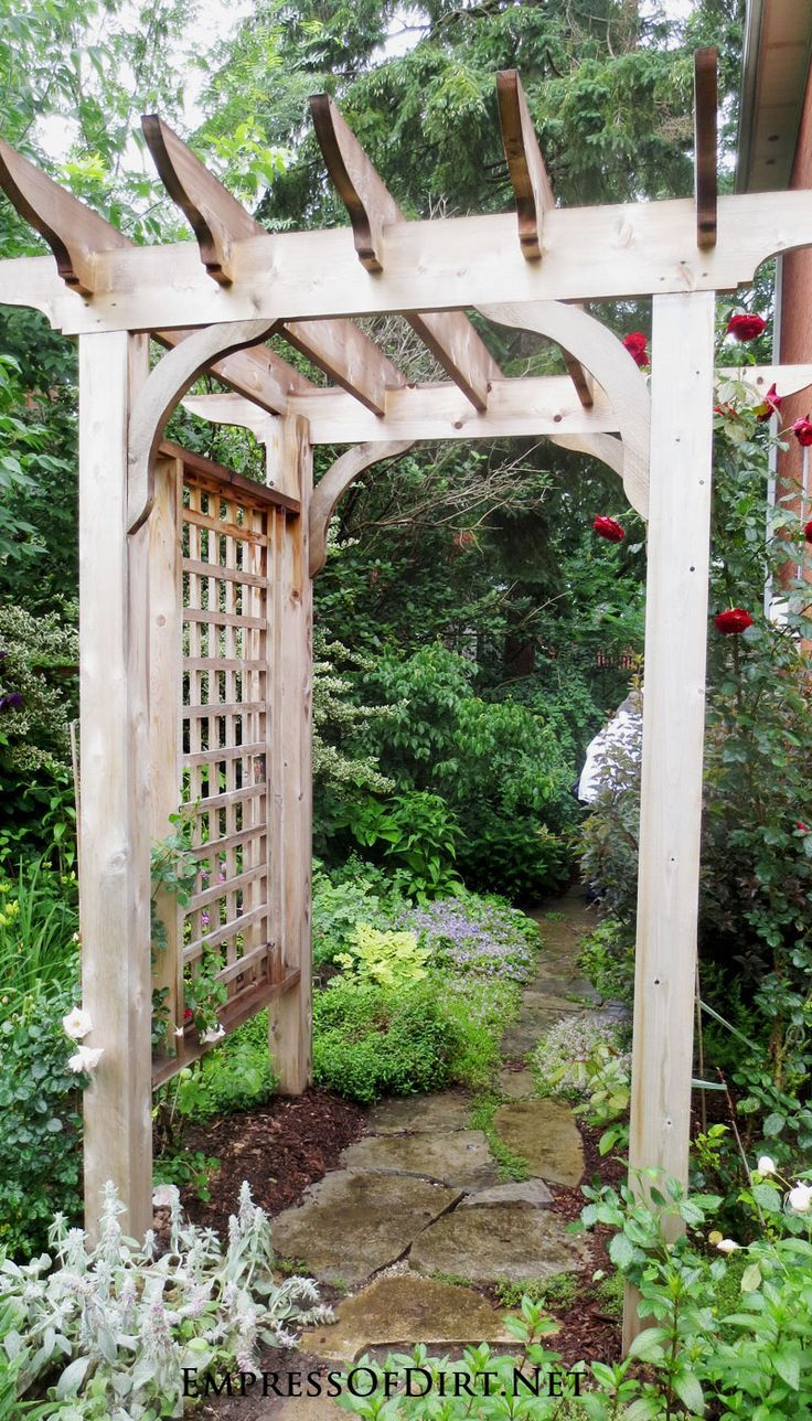 Wood arbor with garden path see