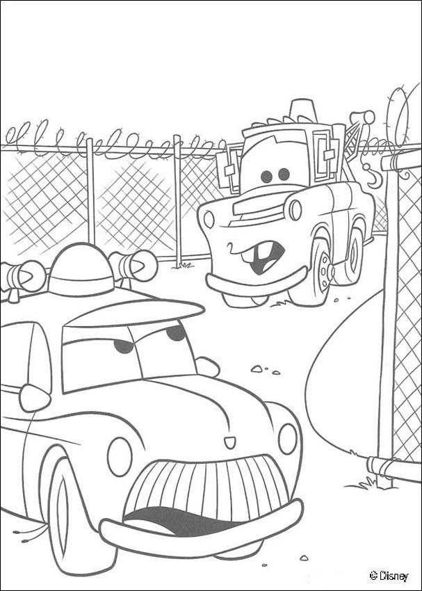 Cars coloring pages Mater and a police car | coloring_pages | Pinterest