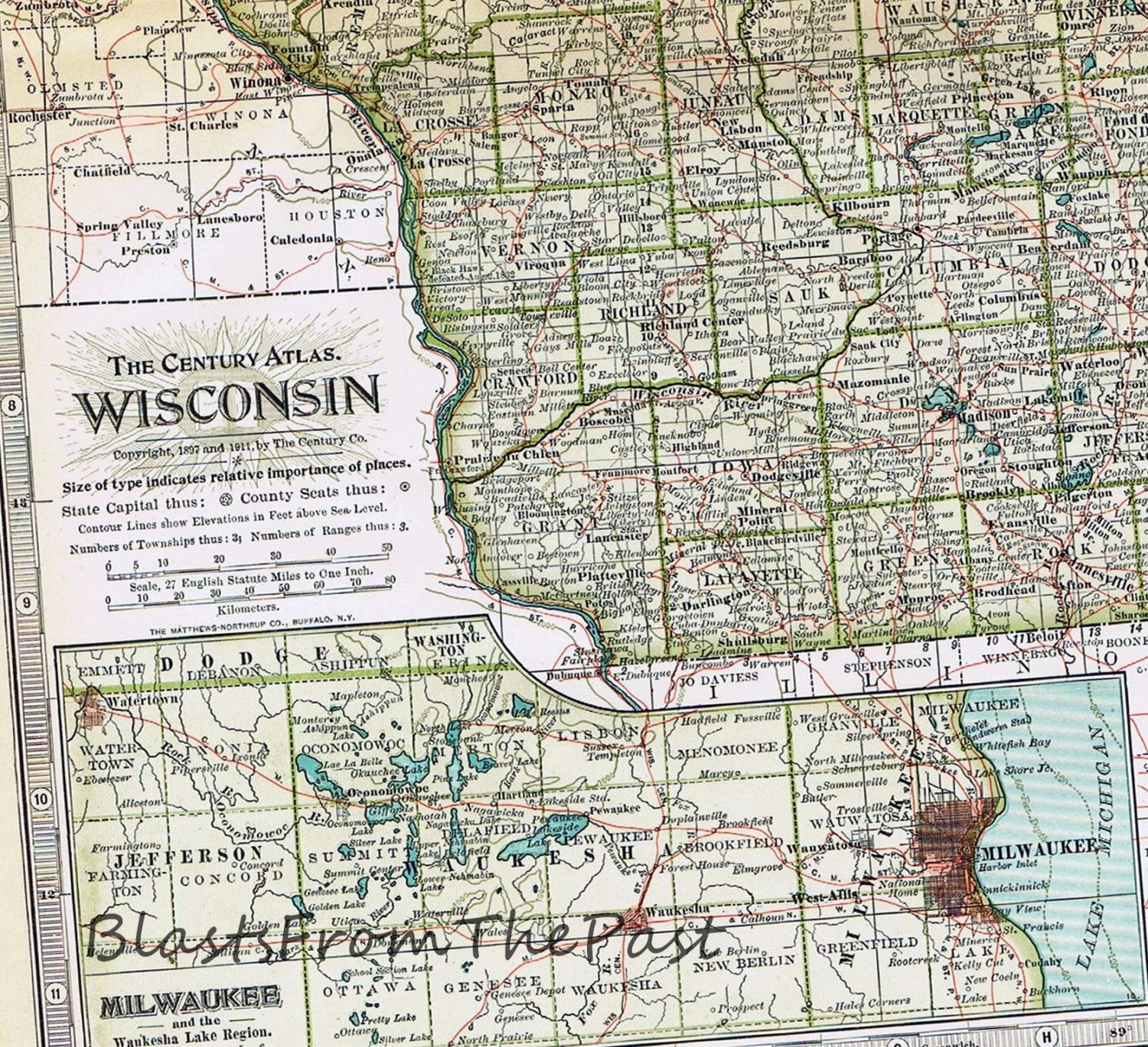 1911 Antique MAP of WISCONSIN Authentic Large Scale Century Atlas