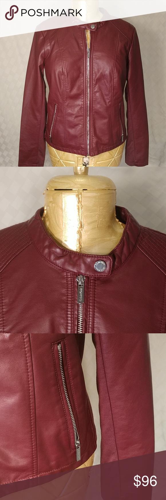 Calvin Klein Marron Faux Leather Moto Jacket L Picturing
