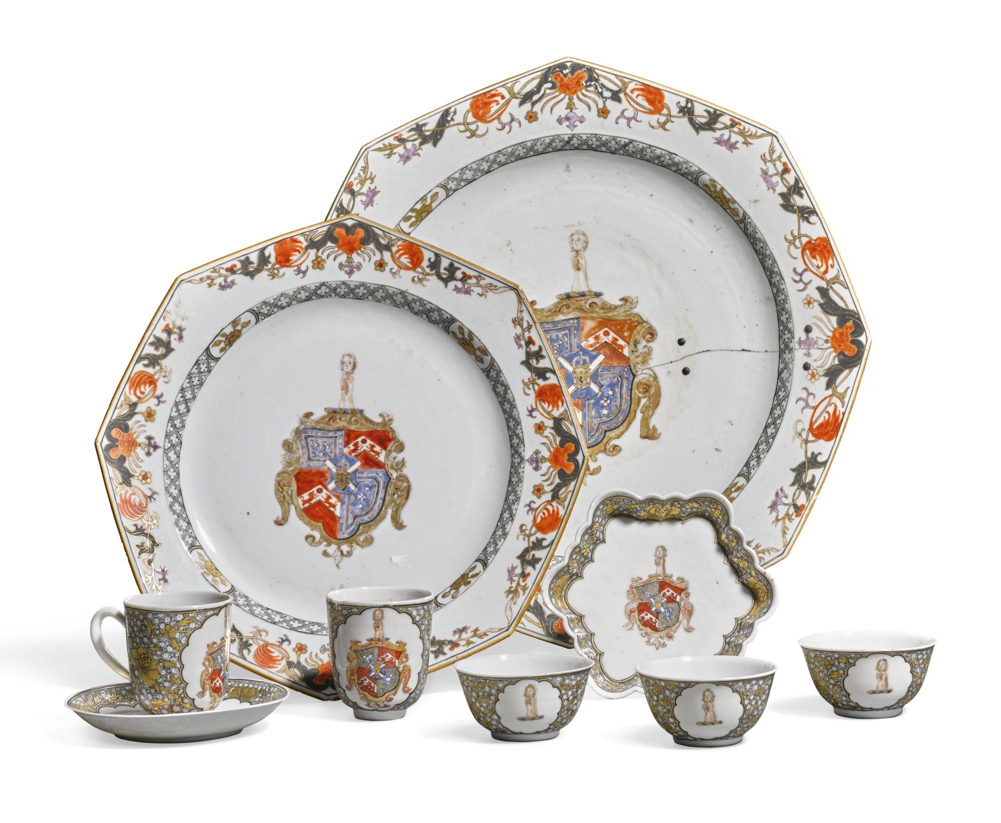 """Parte del servicio en porcelana """"familia rosa"""", China, Dinastía Quing, periodo Qialong."""