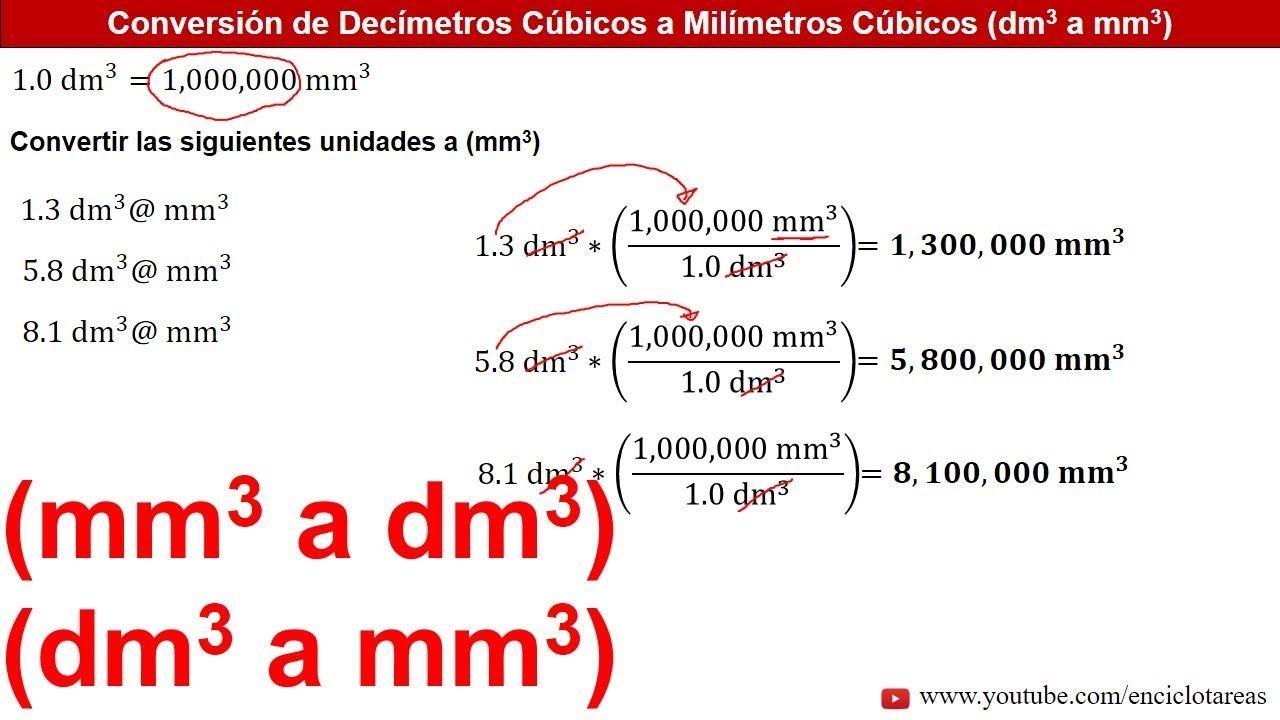 Conversión De Mm3 A Dm3 Y De Dm3 A Mm3 Youtube Conversion De Unidades Conversiones Ejercicios Resueltos