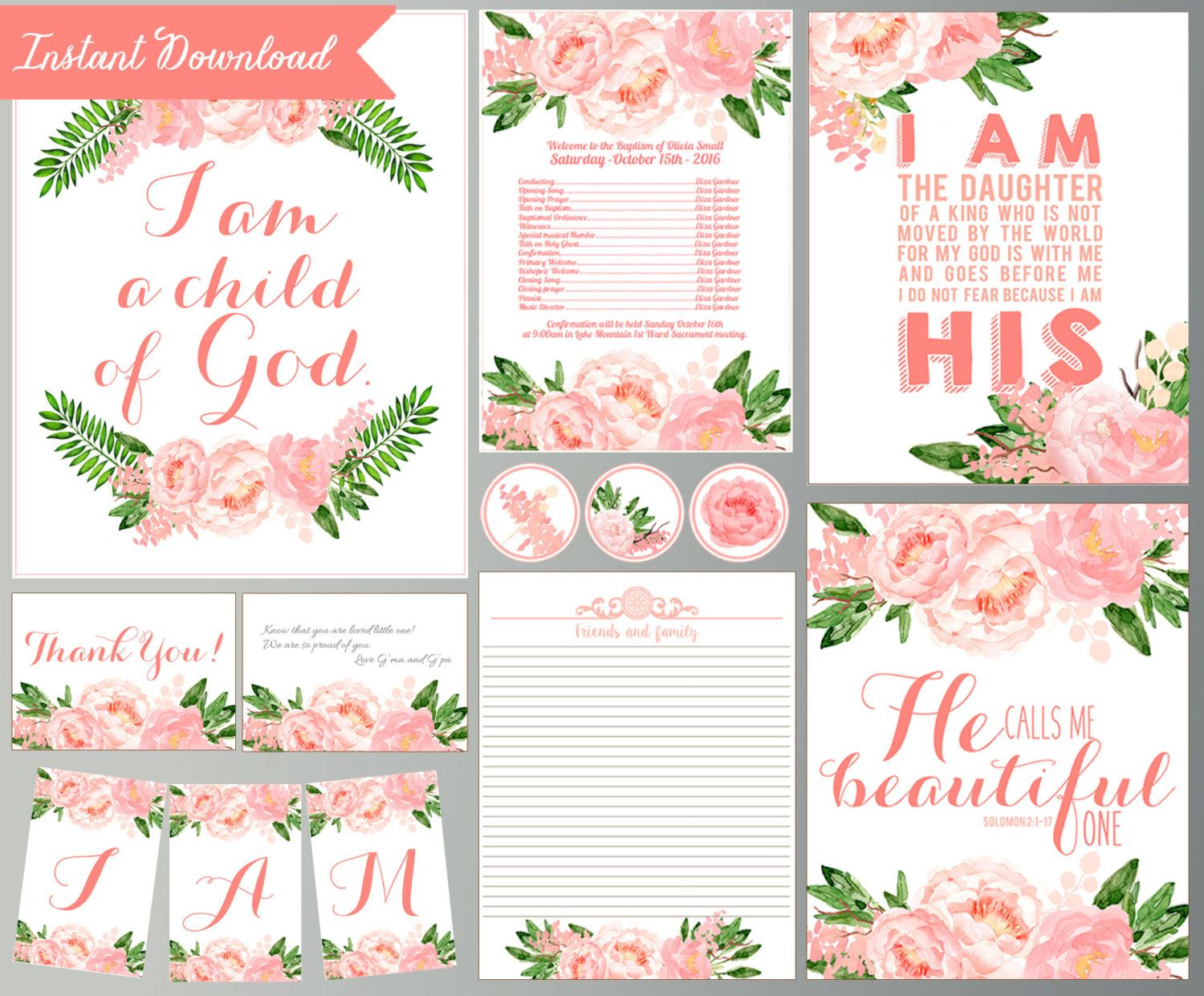 Printable Baptism Quotes Decorations Pink Floral Baptism