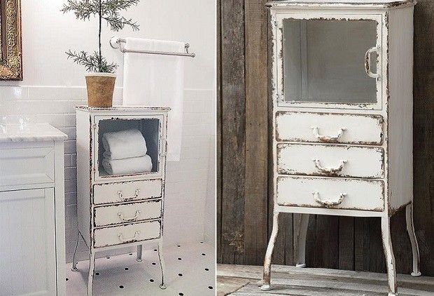 Bathroom Storage Cabinets | Bathroom Storage Ideas | Vintage Metal Cabinets - Distressed Metal Cabinet With 3 Drawers Drawers, Metals And