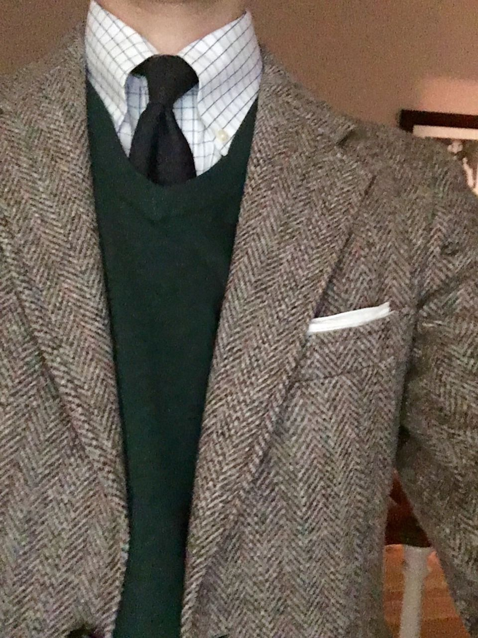 Light Grey Tweed Jacket White Shirt With Blue Check Navy Tie Khakis Green Sweater Tweed Jacket Men Mens Outfits Harris Tweed Jacket