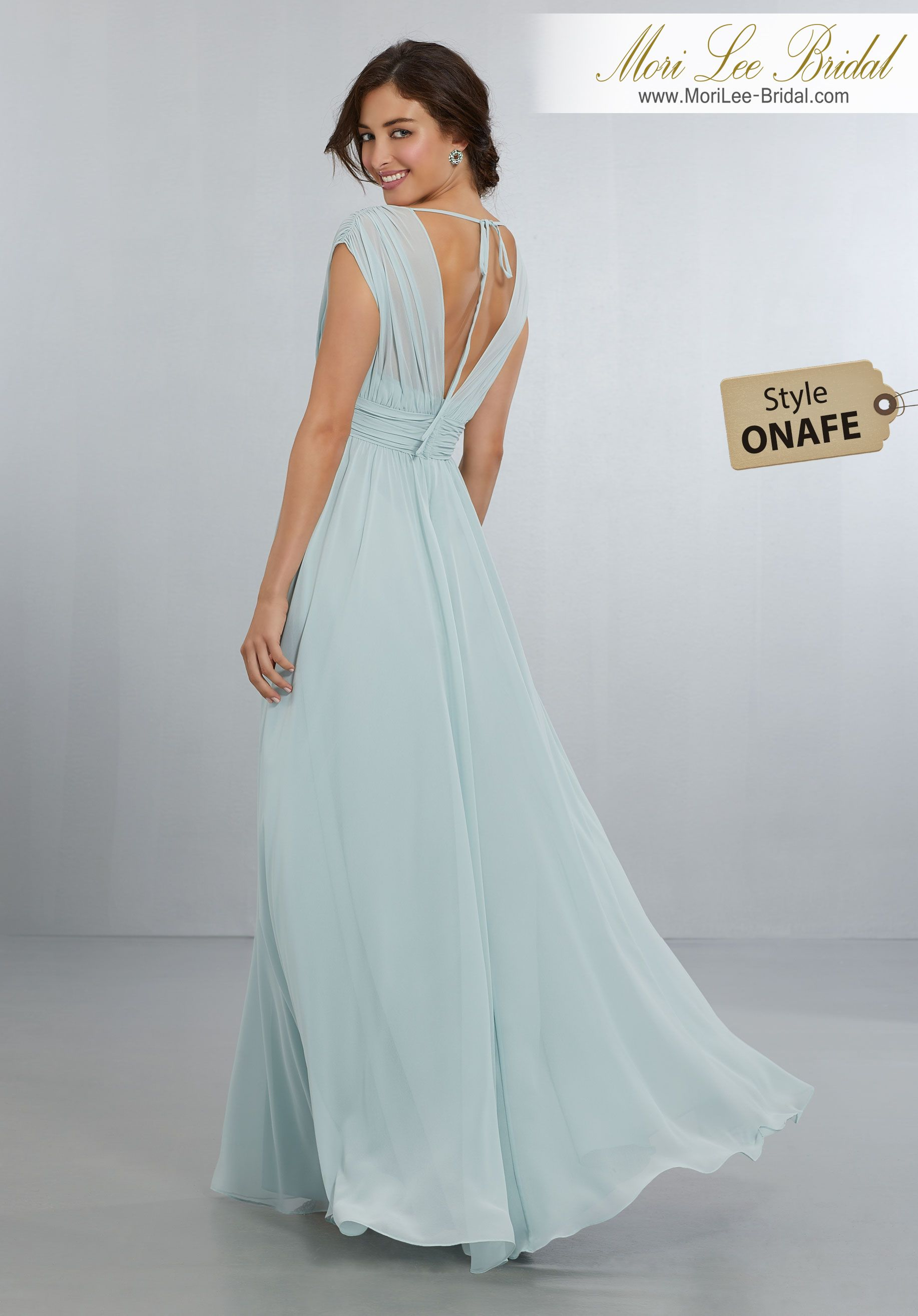 Style onafe chiffon bridsmaids dress with vneckline and tie vback