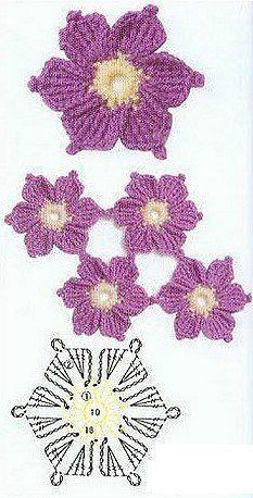 Fleurs au crochet – Le blog d'Anne   – robutki