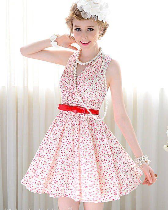 Elegant V-Neckline Floral Print and Ruffled Design Women's Polyester Dress $18.20