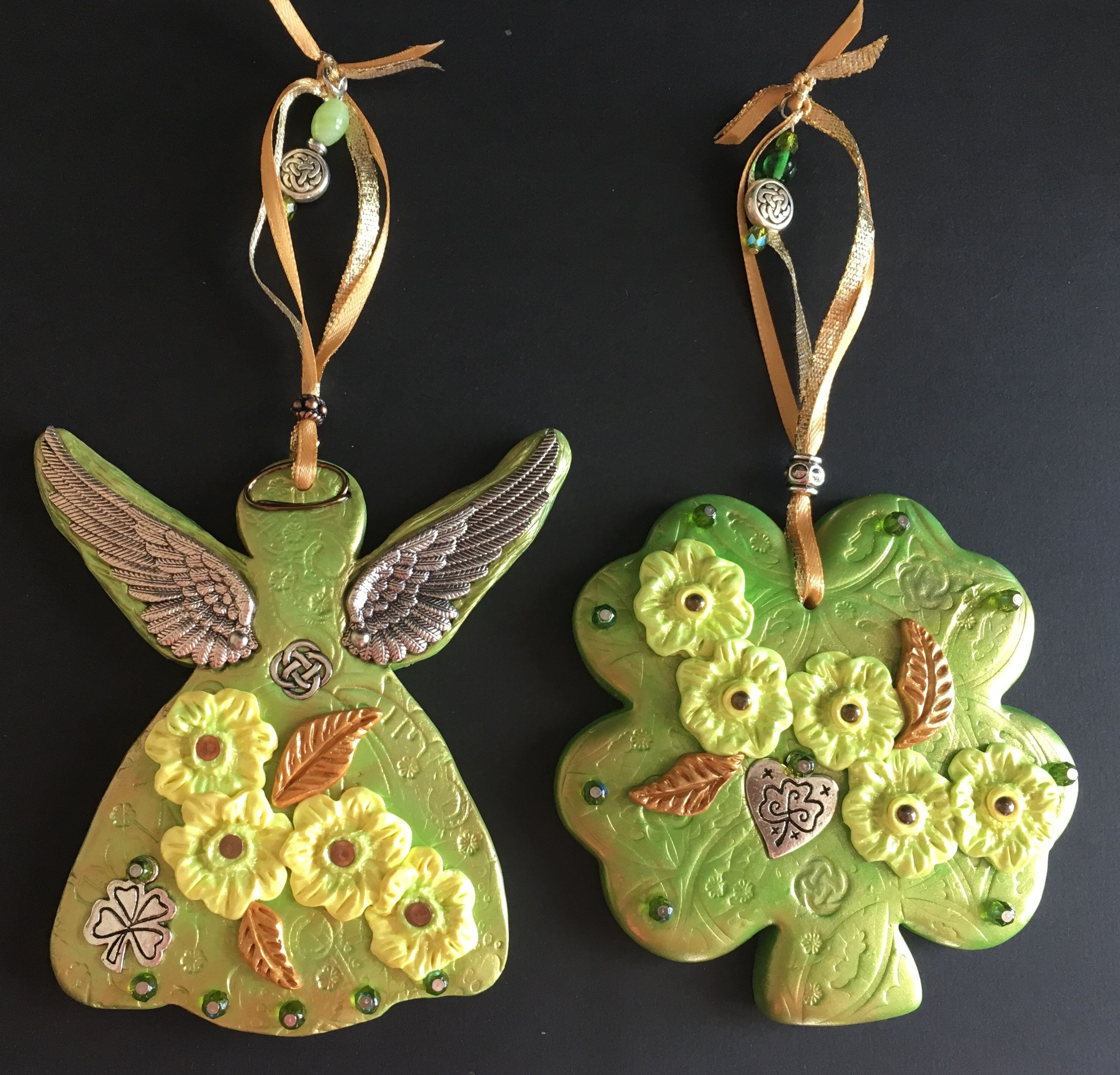 St Patricks Day Ornaments Polymer Clay Ornaments Angel And Four