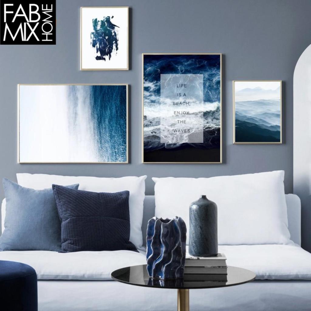 Modern Blue Abstract Seascape Wall Art Canvas Poster Prints Blue Wall Decor Cool Walls Blue Wall Art