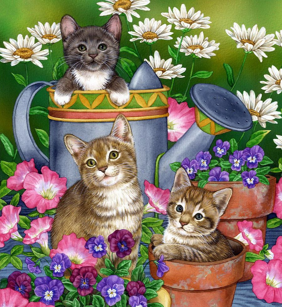 Зеленые, детские открытки с кошками