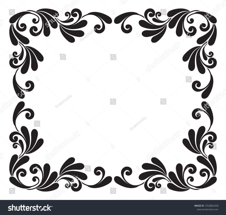 Vintage Baroque Frame Floral Damask Border Ornament Decorative Element Foliage Design Invitation And Baroque Frames Floral Damask Layout Design Inspiration