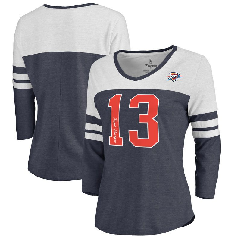2998cfbf980 Paul George Oklahoma City Thunder Fanatics Branded Women s Starstruck Name    Number Tri-Blend 3 4-Sleeve V-Neck T-Shirt - Navy
