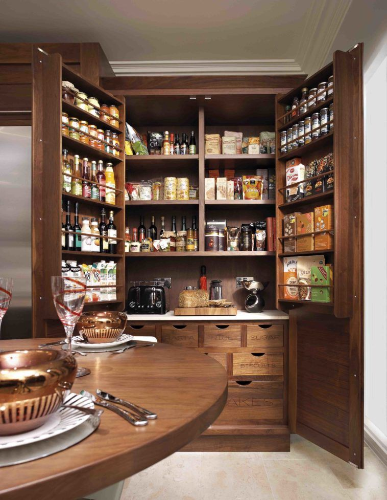 Best Brown Wooden Pantry Cabinet With Shelves And Drawer 400 x 300