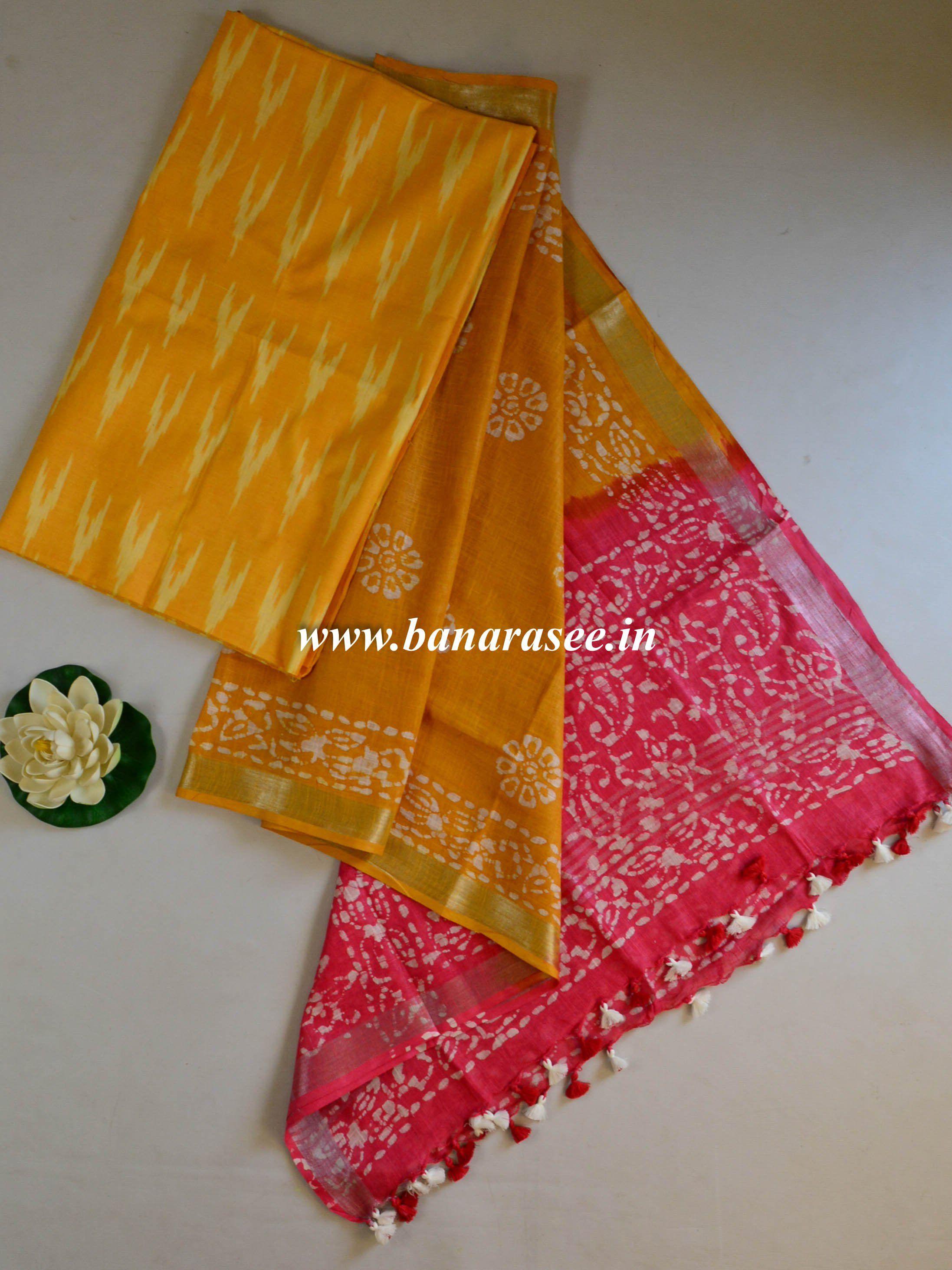 Bhagalpuri Pure Ikkat Kameez With Linen Cotton Batik