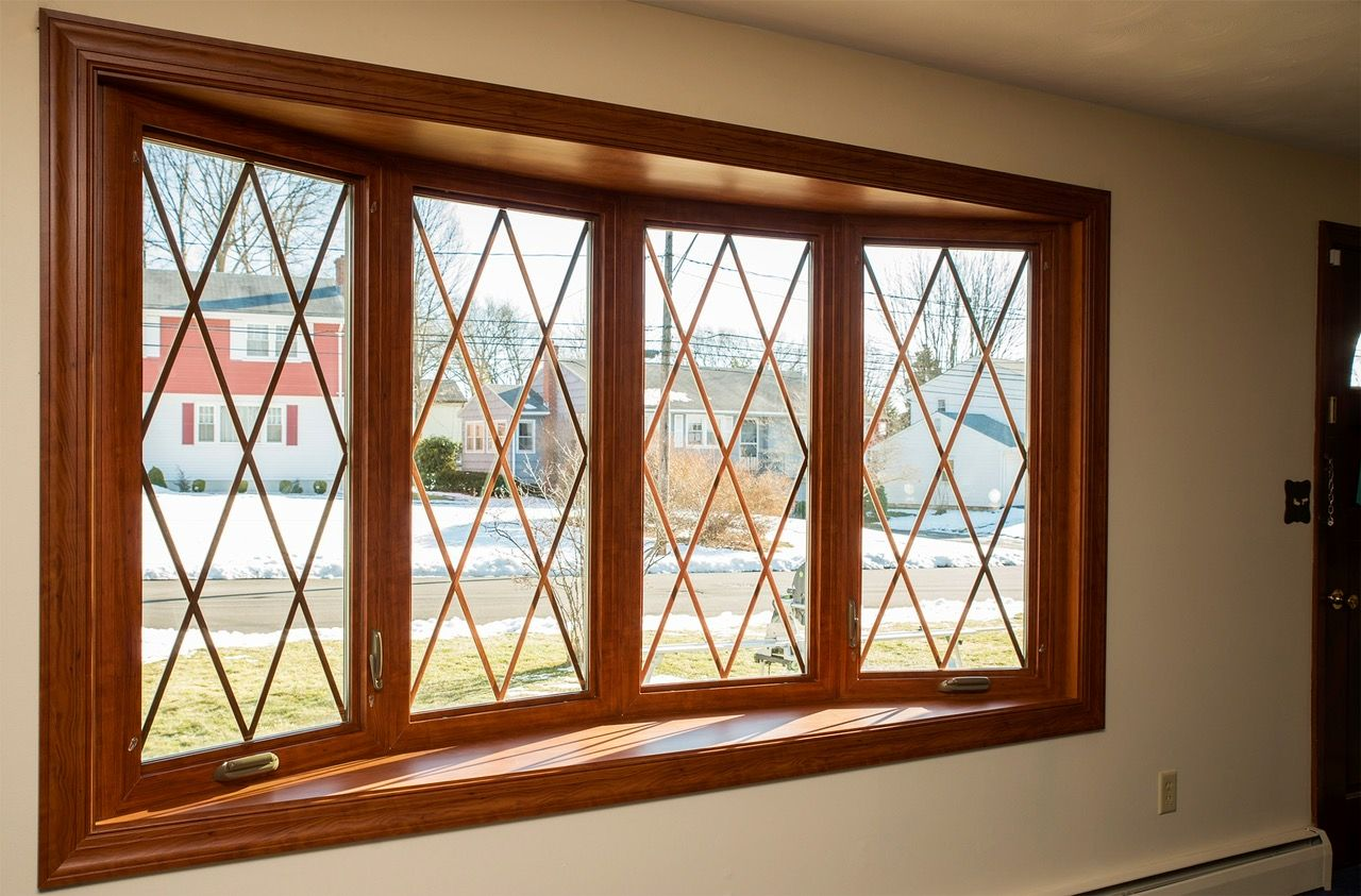 4 Section Bow Window With Diamond Grids In Dark Foxwood Maintenance Free Color Bow Window Windows Windows Seven