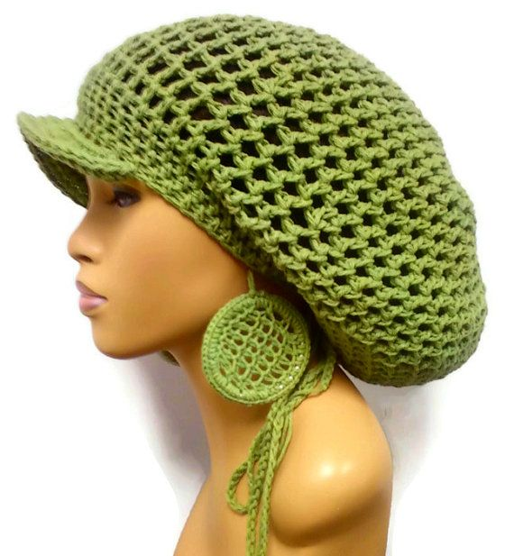 MADE TO ORDER Sage Green Slouch hat, Tam, Dreadlock hat with brim ...